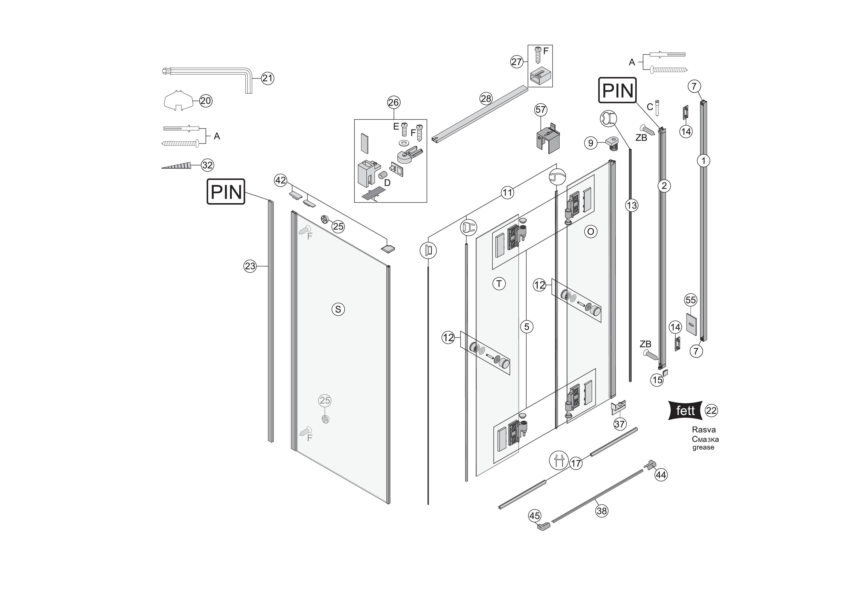 ersatzteile f r s400 faltt re 2 teilig in nische bekon. Black Bedroom Furniture Sets. Home Design Ideas