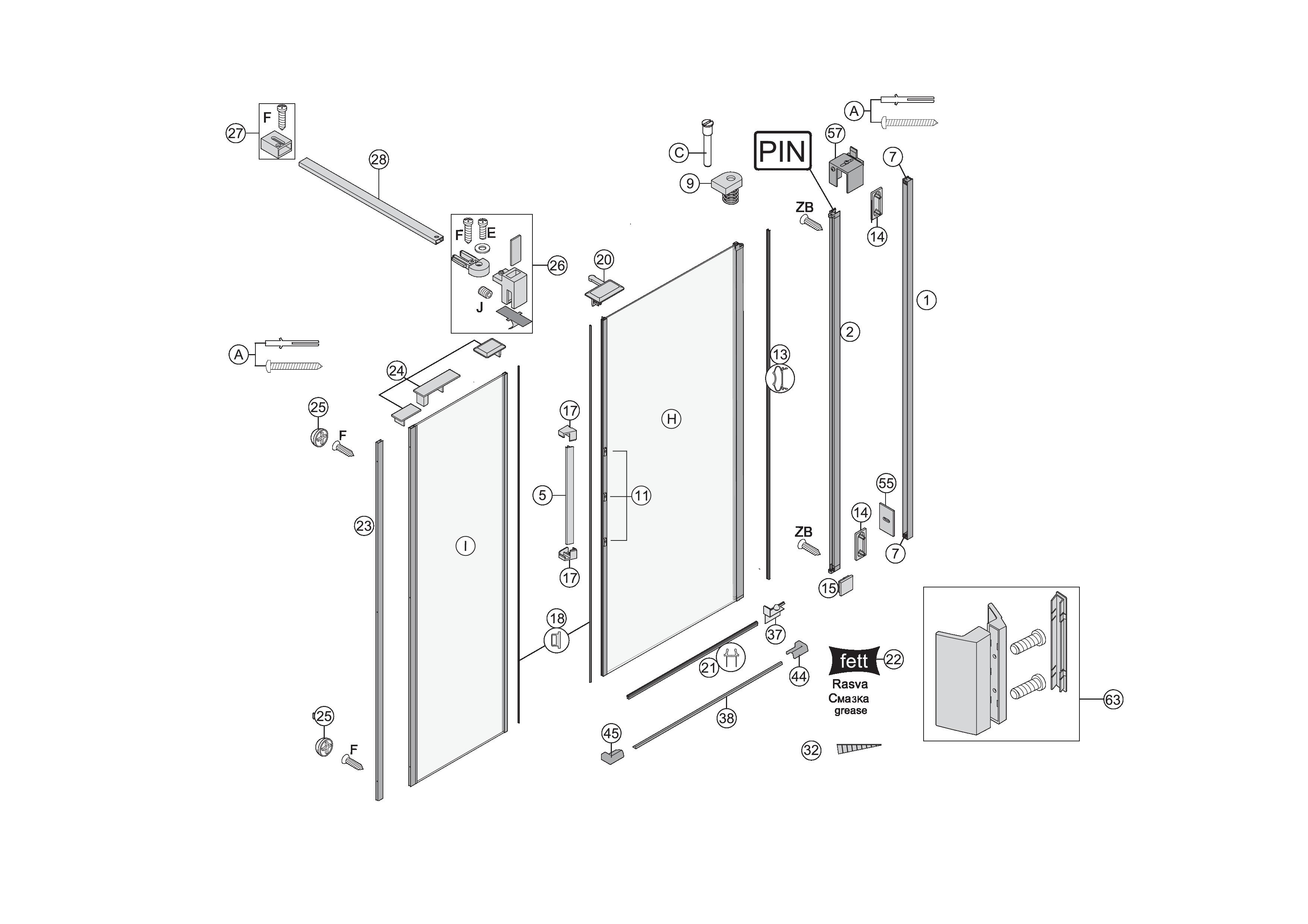 ersatzteile f r s400 pendelt re wandanschlag mit seitenwand in flucht in nische bekon koralle ag. Black Bedroom Furniture Sets. Home Design Ideas