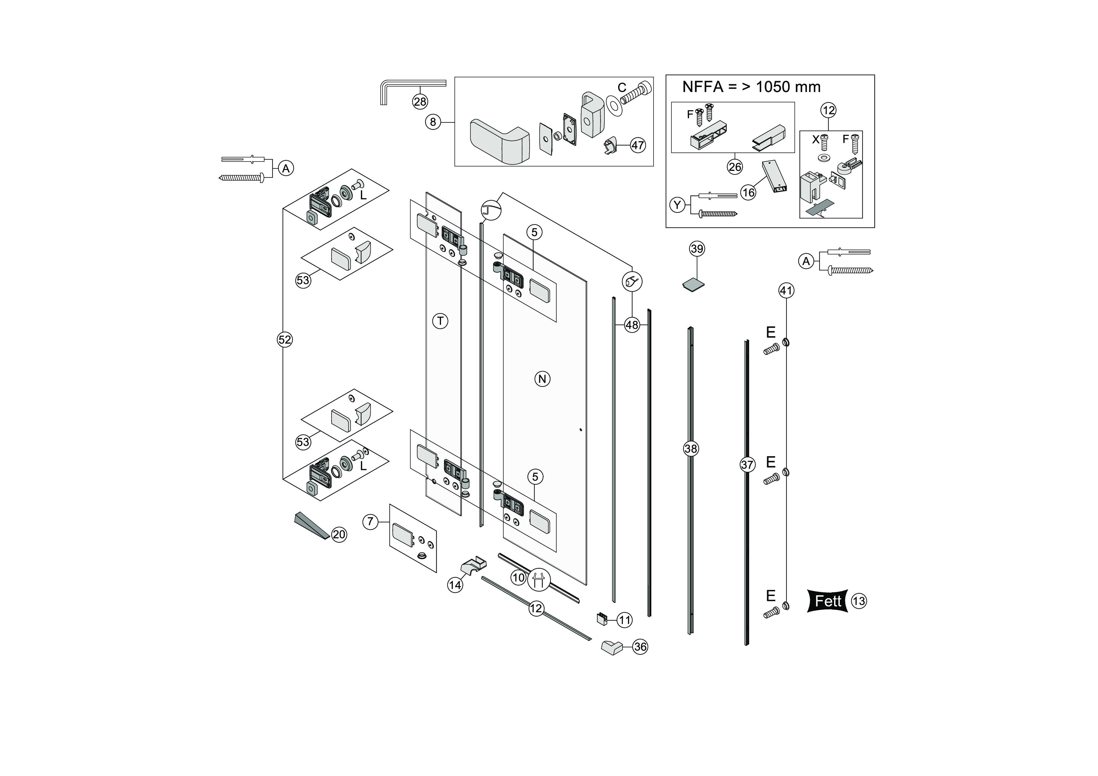 ersatzteile f r s505 fl gelt re mit festelement in nische bekon koralle ag. Black Bedroom Furniture Sets. Home Design Ideas