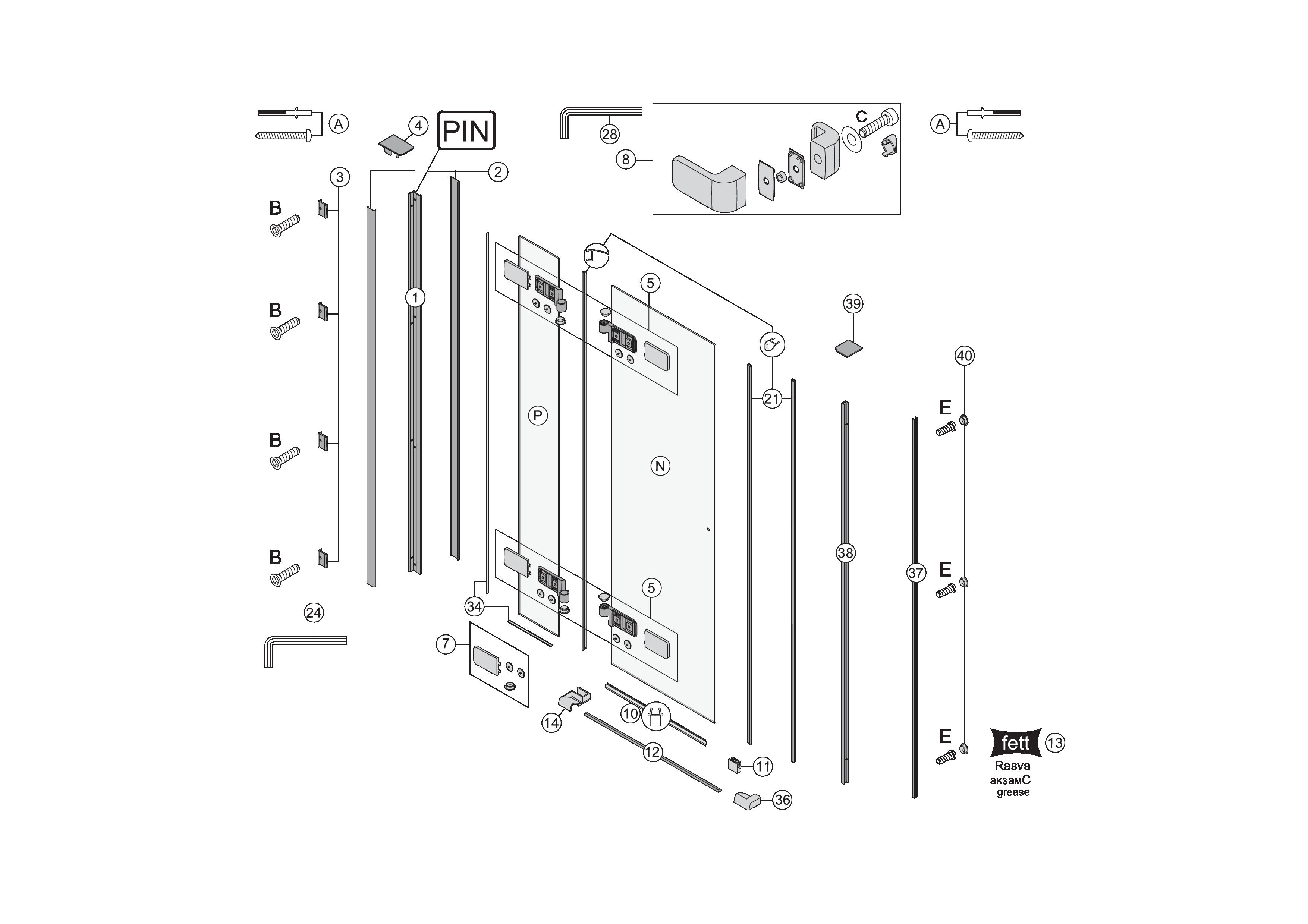 ersatzteile f r s500 fl gelt re mit festelement in nische. Black Bedroom Furniture Sets. Home Design Ideas
