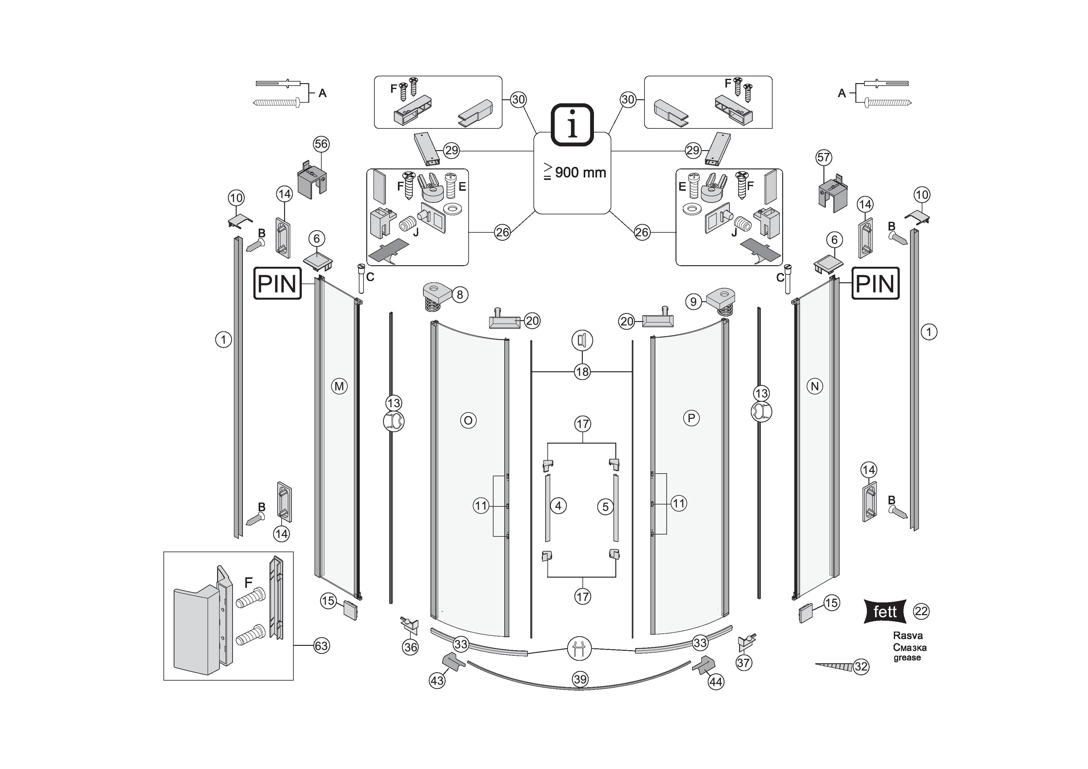 ersatzteile f r s400 viertelkreisdusche mit pendelt ren bekon koralle ag. Black Bedroom Furniture Sets. Home Design Ideas