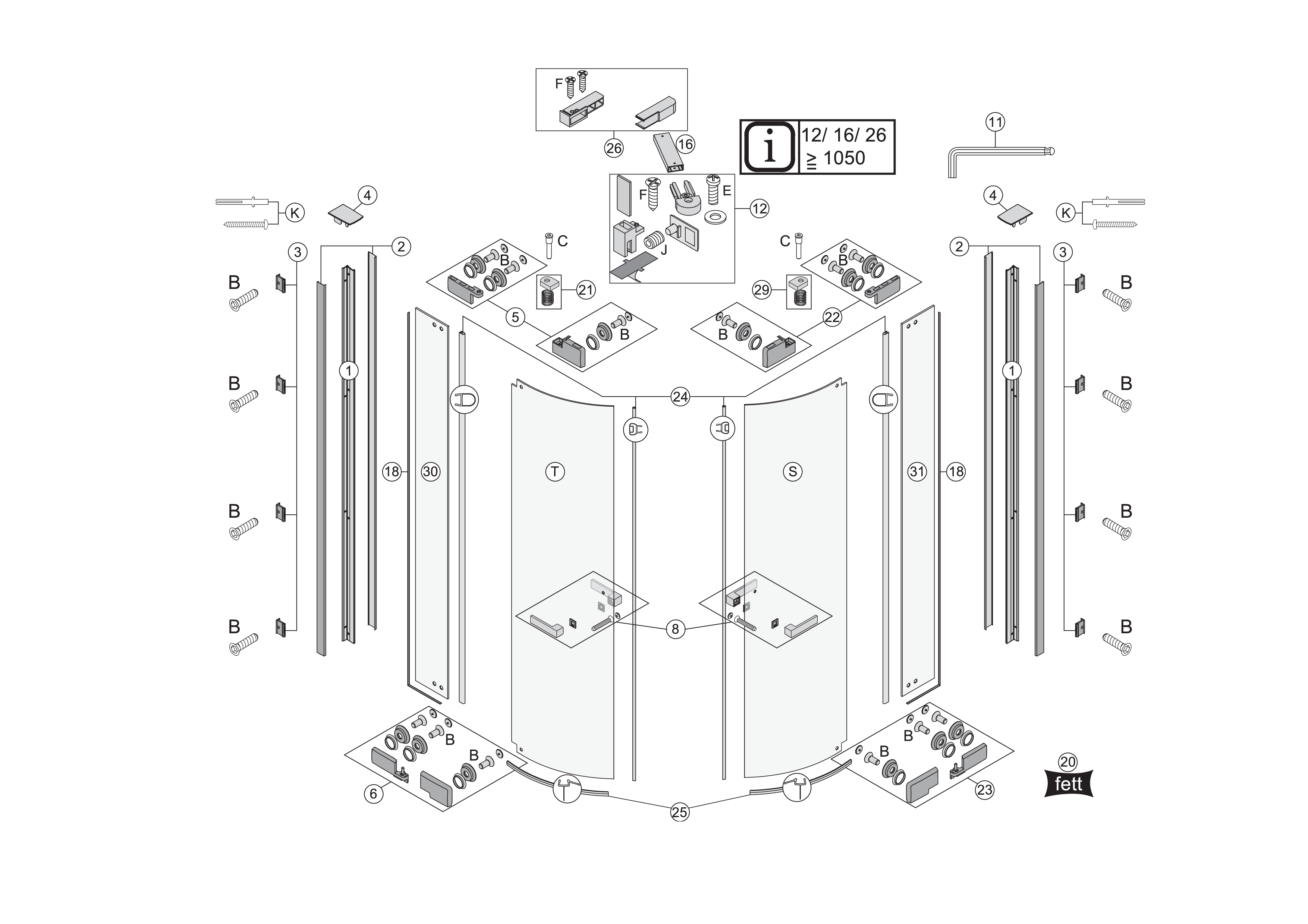 ersatzteile f r s800 eckdusche mit pendelt ren und festelementen bekon koralle ag. Black Bedroom Furniture Sets. Home Design Ideas