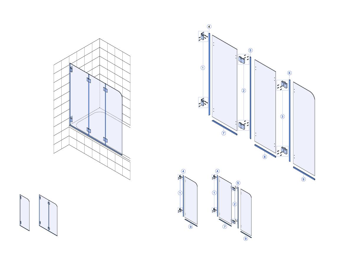 Favorit Ersatzteile für Rubin Faltwand 3-teilig auf Badewanne - Bekon PQ04