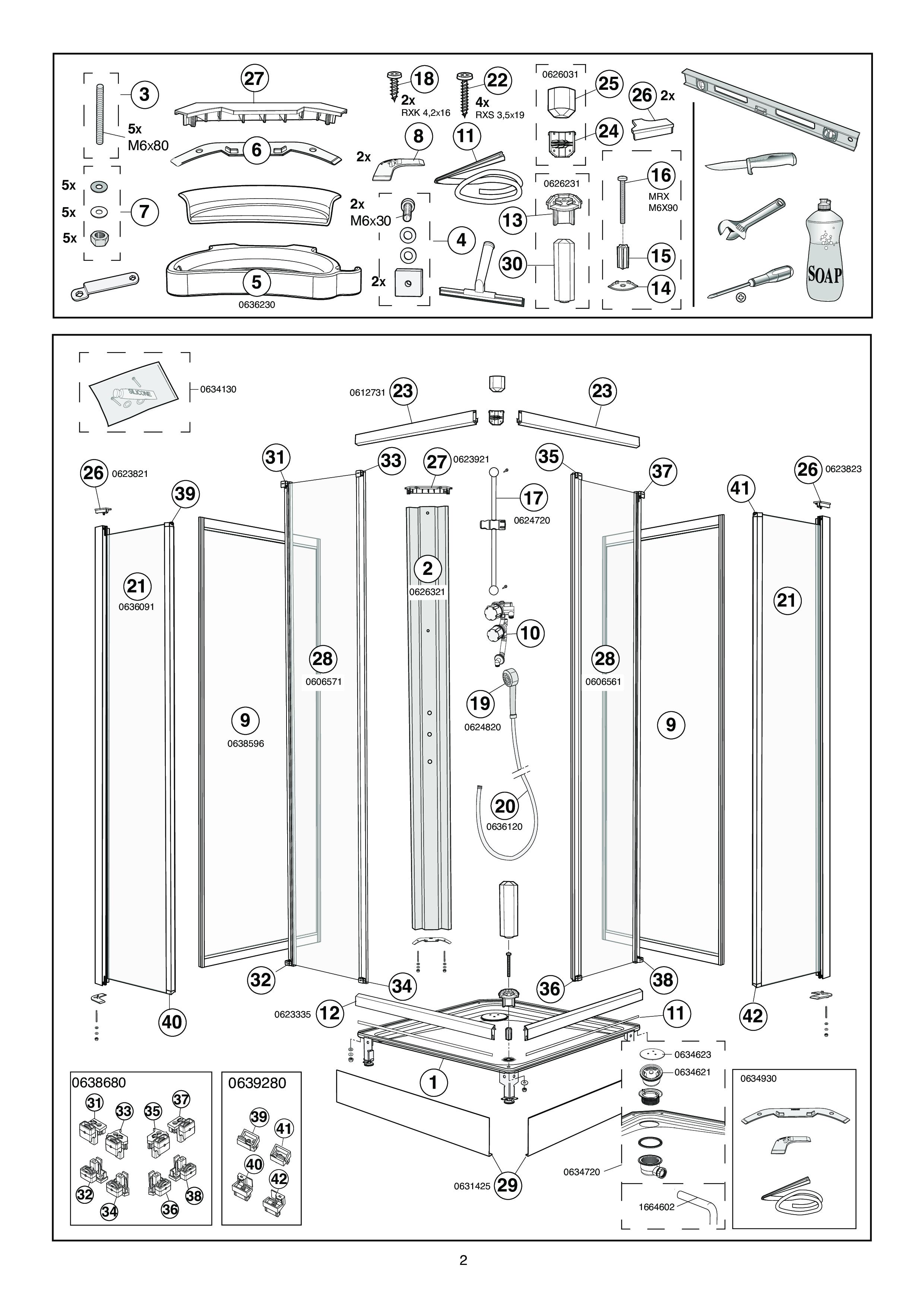 ersatzteile f r solid fertigdusche mit 2 schiebet ren. Black Bedroom Furniture Sets. Home Design Ideas