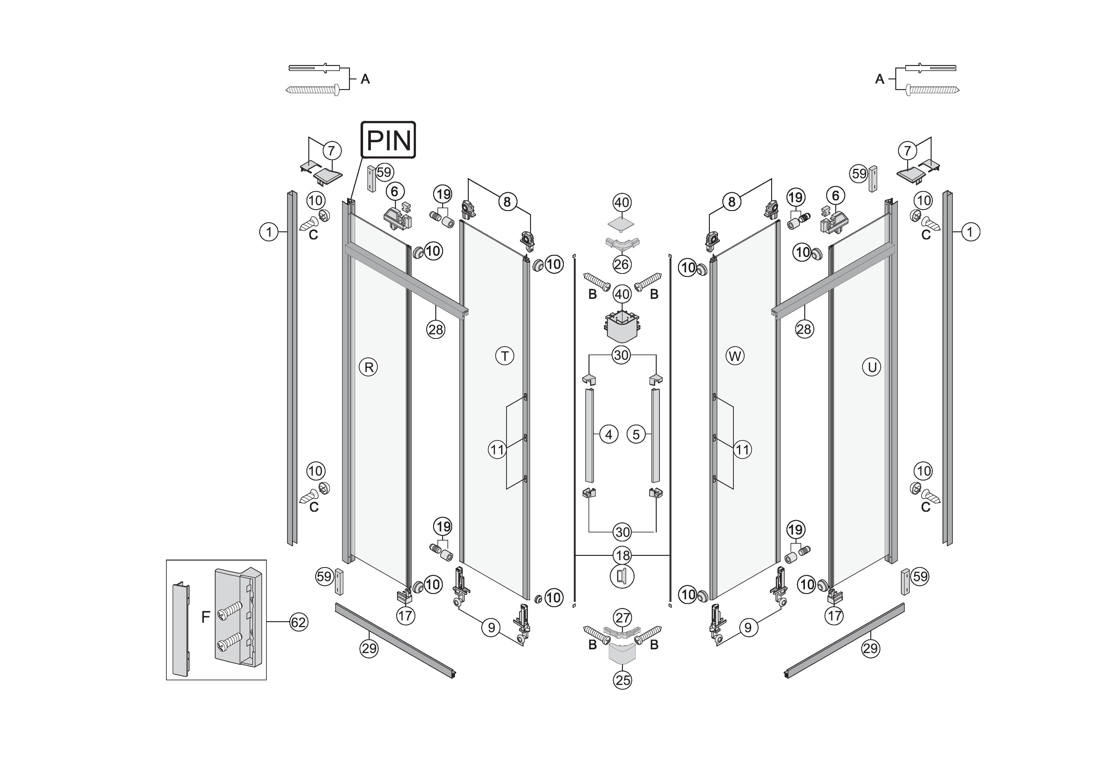 Ersatzteile Fur S400 Eckdusche Mit Schiebeturen 2 Teilig Bekon
